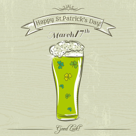 beer card: Card for St. Patricks Day with green beer mug with clovers, vector