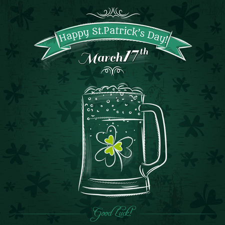 17th march: Green card for St. Patricks Day with beer mug, vector Illustration