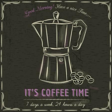 coffee maker: Pizarra Brown con una m�quina de caf� y el texto, ilustraci�n vectorial