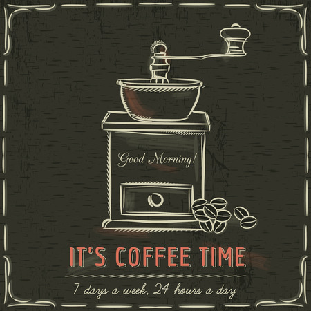 coffee mill: Brown blackboard with  coffee mill and text, vector illustration