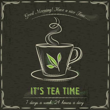 Brown blackboard with a cup of hot tea and text, vector Illustration
