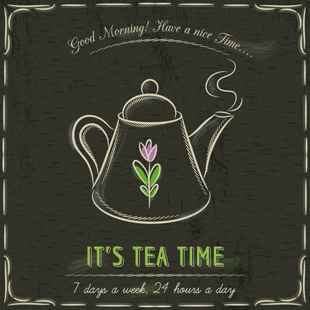 listing: Brown blackboard with a cup of hot tea and text, vector illustration Illustration