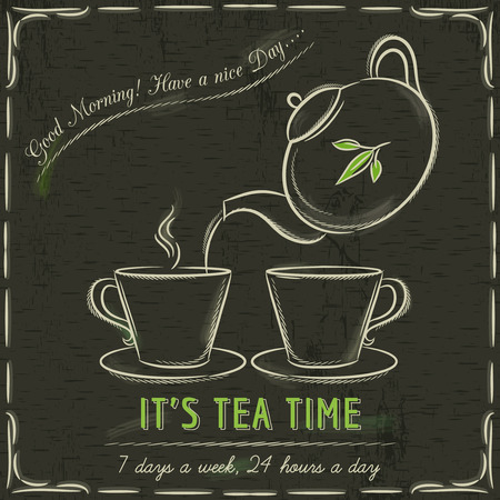 teapot: Brown blackboard with  two cup of hot tea and teapot, vector