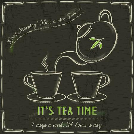 pizarron: Pizarra Brown con dos tazas de té caliente y tetera, vector Vectores