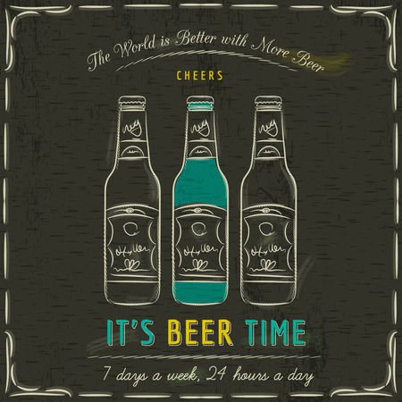 beer drinking: Brown blackboard with three bottles of beer and text, vector Illustration