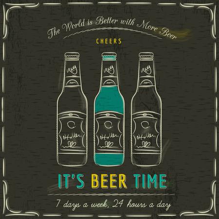 vasos de cerveza: Pizarra Brown con tres botellas de cerveza y el texto, vector