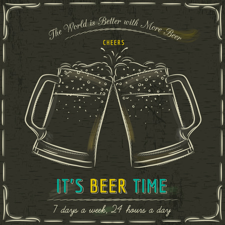 cheers: Brown blackboard with two cold mugs of beer and text, vector