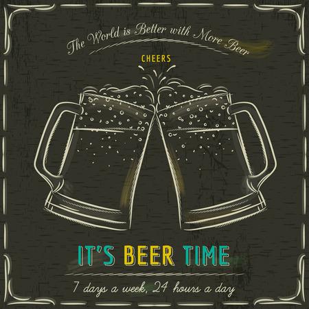 pizarron: Pizarra de Brown con dos tazas de cerveza fr�a y el texto, vector