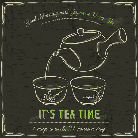 tearoom: Brown blackboard with  two cup of Japanese Green Tea and teapot, vector