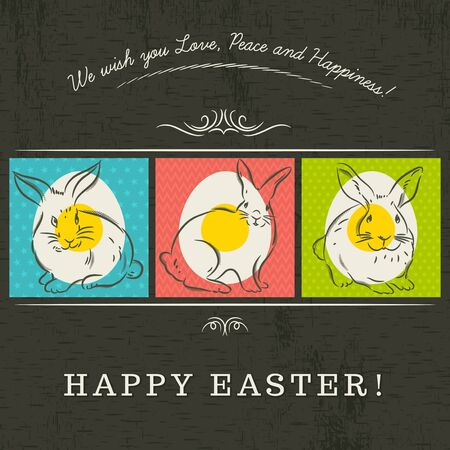 Three colored Easter eggs painted with three rabbits.  Vector
