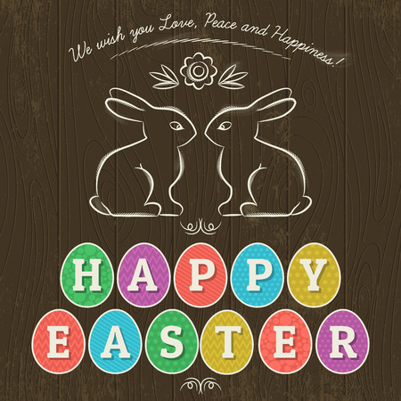 easter bunny: Large inscription Happy Easter written in eleven colored eggs. Illustration