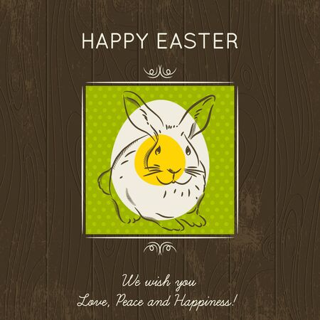 Hand painted bunny entered in the square with egg. Brown wooden background and greetings inscription Happy Easter. Card for Easter. Decorative composition suitable for invitations, greeting cards, flyers, banners. Royalty free stock vector illustration Vector