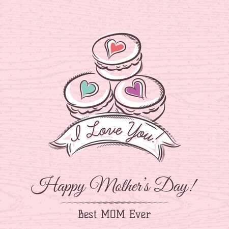 macaroni: Pink Mothers Day card with  macaroni, vector Illustration