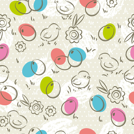 scrap booking: Easter Pattern and seamless backgrounds. Background with  easter eggs, flower and chicks.Ideal for printing onto fabric and paper or scrap booking.