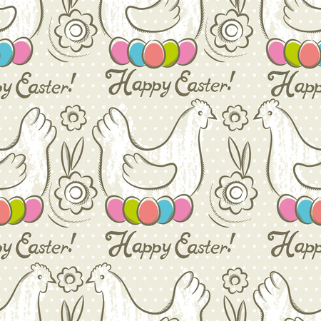 scrap: Easter Pattern and seamless backgrounds. Background with  easter eggs, flower and hens.Ideal for printing onto fabric and paper or scrap booking.