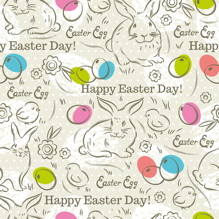 scrap booking: Easter Pattern and seamless backgrounds. Background with  rabbits, easter eggs, flowers and chicks.Ideal for printing onto fabric and paper or scrap booking. Illustration
