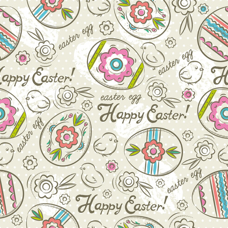 scrap booking: Easter Patterns and seamless background.Background with easter eggs, flowers and chicks.Ideal for printing onto fabric and paper or scrap booking.