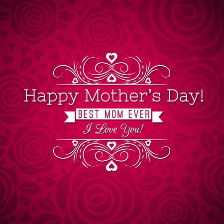 madre: Las madres rojas tarjeta de felicitaci�n del d�a de rosas y desea el texto, ilustraci�n vectorial