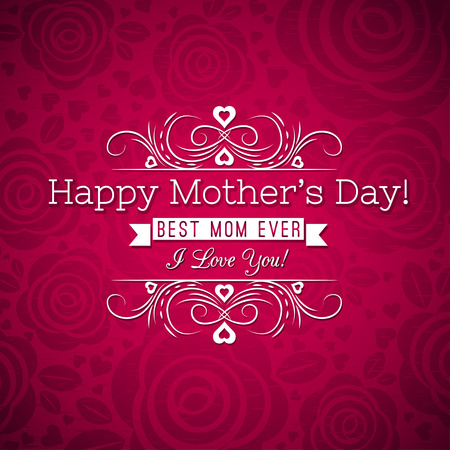 Red Mothers day greeting card  with roses and wishes text,  vector illustration Çizim