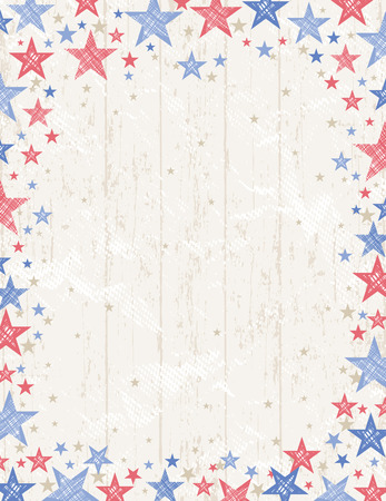 Frame of grunge usa background with red and blue stars vector illustrationDecorative composition suitable for invitations greeting cards flayers banners. Ilustração