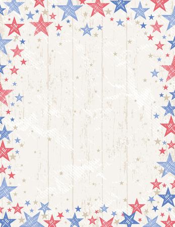 julio: Marco de grunge EE.UU. fondo con estrellas rojas y azules Vector de composici�n illustrationDecorative adecuada para las invitaciones Tarjetas de felicitaci�n desolladores pancartas.