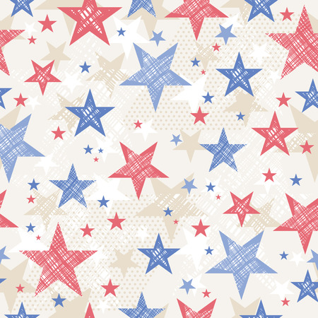 us army: USA background with Seamless pattern with red and blue stars vector illustration Illustration