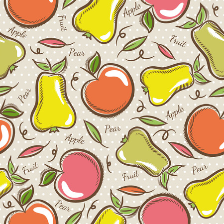 scrap: Seamless Patterns with Fruit Background with  apples and pears.Ideal for printing onto fabric and paper or scrap booking.