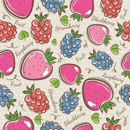 scrap booking: Seamless Patterns with Fruit Background with  strawberry blackberry and raspberry.Ideal for printing onto fabric and paper or scrap booking.