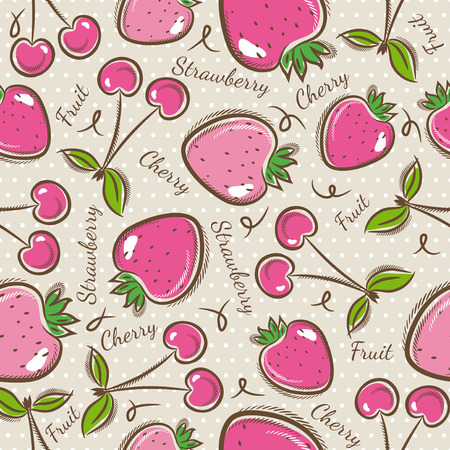 scrap booking: Seamless Patterns with Fruit Background with  strawberry and cherry.Ideal for printing onto fabric and paper or scrap booking. Illustration