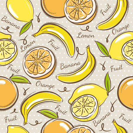 scrap booking: Seamless Patterns with Fruit Background with  bananas oranges and lemons.Ideal for printing onto fabric and paper or scrap booking.