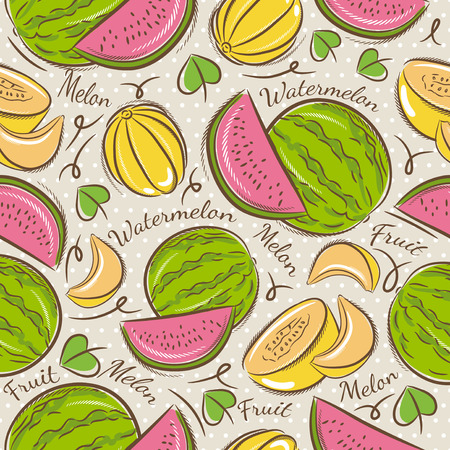 scrap booking: Background with melon and watermelonIdeal for printing onto fabric and paper or scrap booking. Illustration