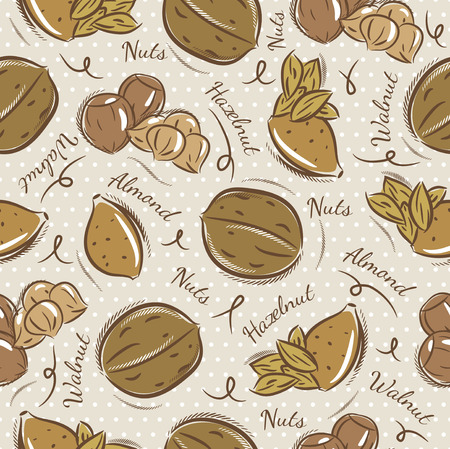 scrap booking: Background with almond, hazelnut and, walnut. Ideal for printing onto fabric and paper or scrap booking Illustration