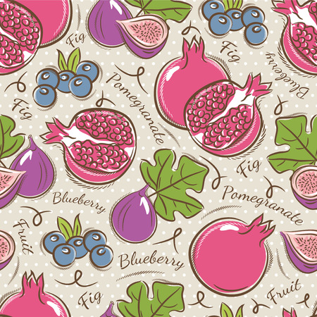 scrap booking: Background with  pomegranate, fig and blueberry. Ideal for printing onto fabric and paper or scrap booking.