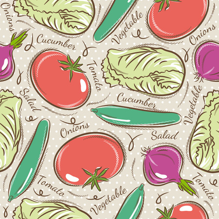 scrap booking: Background with  tomato, cucumber, salad and onions. Ideal for printing onto fabric and paper or scrap booking.