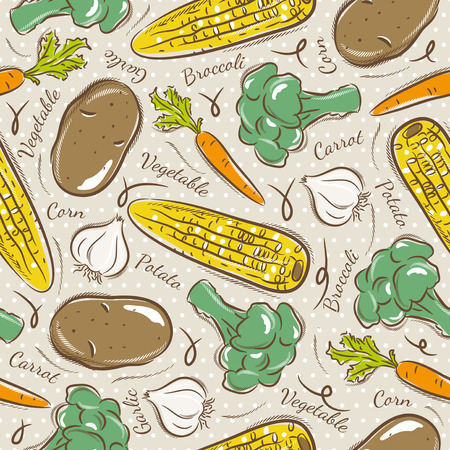 scrap: Background with  broccoli, corn and potato. Ideal for printing onto fabric and paper or scrap booking. Illustration