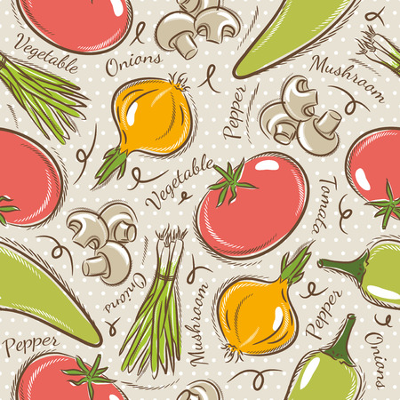 scrap: Background with  tomato, onions,  pepper. Ideal for printing onto fabric and paper or scrap booking.