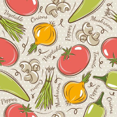 cebolla: Fondo con el tomate, la cebolla, el pimiento. Ideal para la impresión sobre tela y papel o chatarra de reserva. Vectores