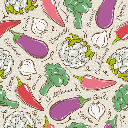 scrap booking: Background with  pepper, eggplant, cauliflower and broccoli. Ideal for printing onto fabric and paper or scrap booking Illustration