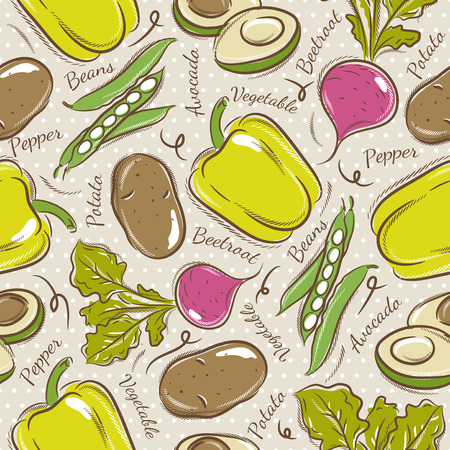 scrap booking: Background with  pepper, beans, potato and avocado. Ideal for printing onto fabric and paper or scrap booking.
