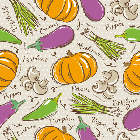 scrap booking: Background with  pepper, eggplant and  pumpkin. Ideal for printing onto fabric and paper or scrap booking.