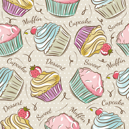 scrap: Background with cupcakes. Ideal for printing onto fabric and paper or scrap booking.