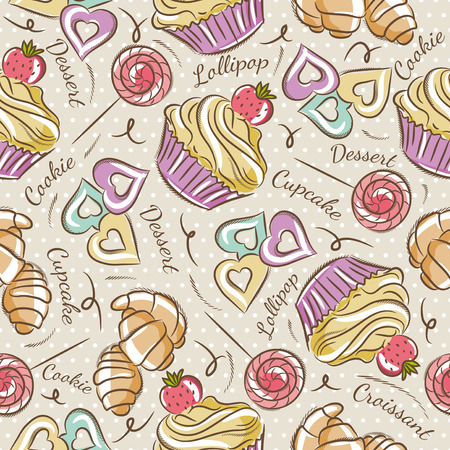 scrap: Background with cupcake, croissant and cookie. Ideal for printing onto fabric and paper or scrap booking. Illustration
