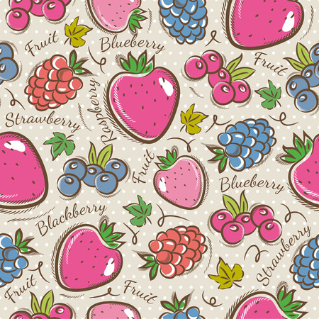 blackberry: Background with  strawberry, blackberry and raspberry. Ideal for printing onto fabric and paper or scrap booking.