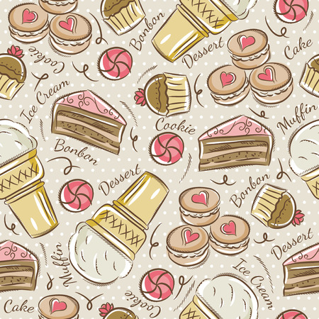 cake background: Background with cupcake, ice cream, cake and cookie. Ideal for printing onto fabric and paper or scrap booking. Illustration