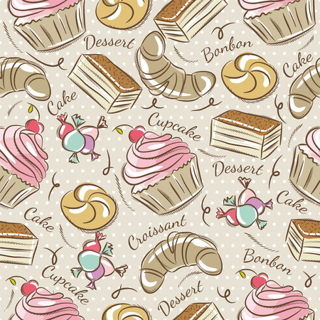 scrap: Background with cupcake, croissan, cake and bonbon. Ideal for printing onto fabric and paper or scrap booking.