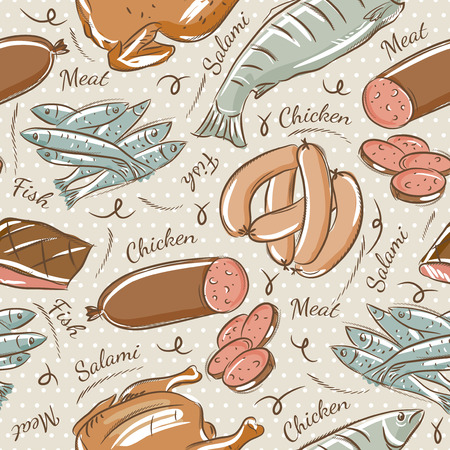 scrap booking: Background with chick, fish, salami and sausage. Ideal for printing onto fabric and paper or scrap booking.
