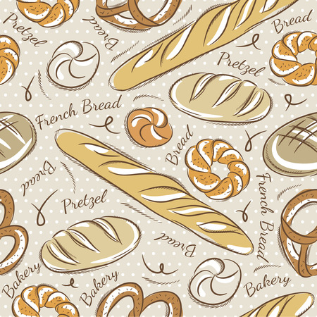 bap: Background with different breads. Ideal for printing onto fabric and paper or scrap booking.