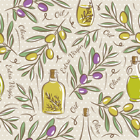 extra virgin olive oil: Background with olive Ideal for printing onto fabric and paper or scrap booking. Illustration