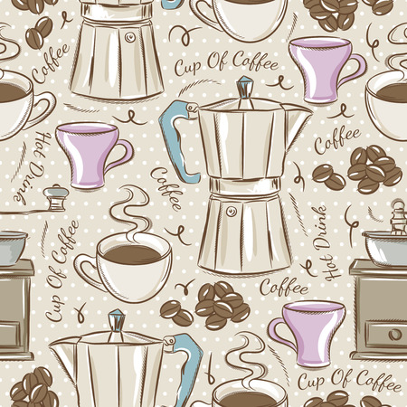 kettle: Background with coffee set.  Ideal for printing onto fabric and paper or scrap booking.