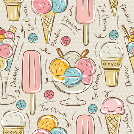 dessert: Background with  ice cream and bonbons. Ideal for printing onto fabric and paper or scrap booking. Illustration